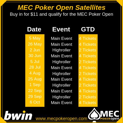 MEC Poker Open OCT 2019 Satellites