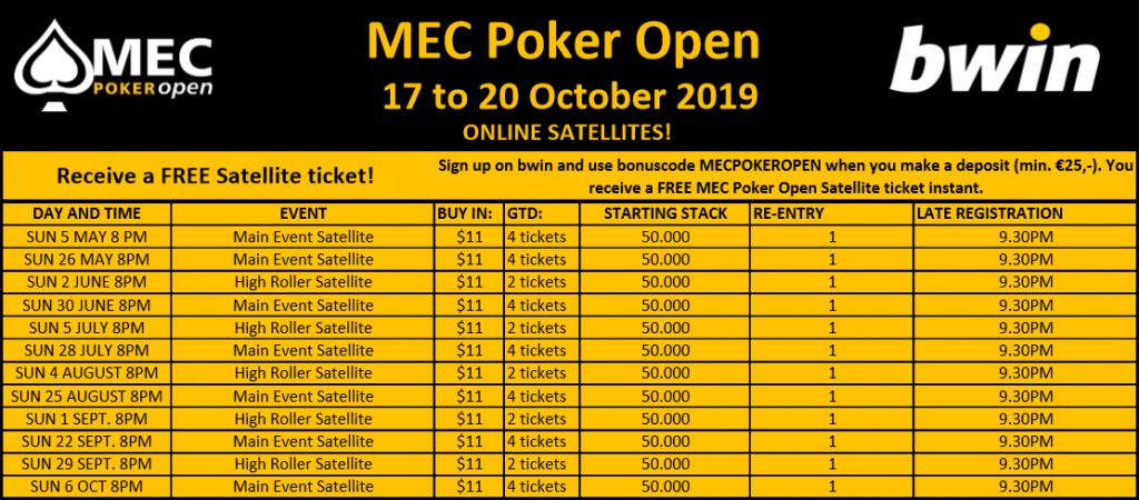 MEC Poker Open Satellite schedule